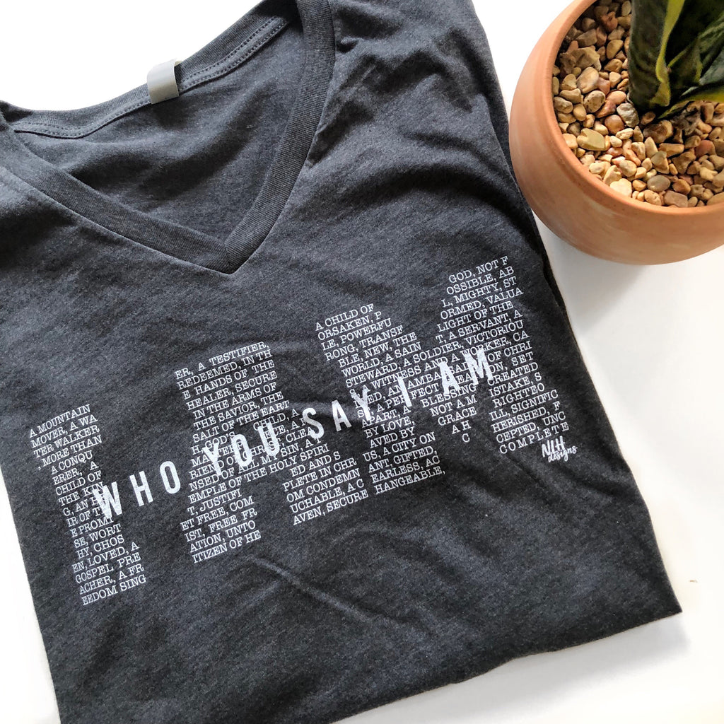 I AM who you say I am Short Sleeve T-Shirt - Charcoal
