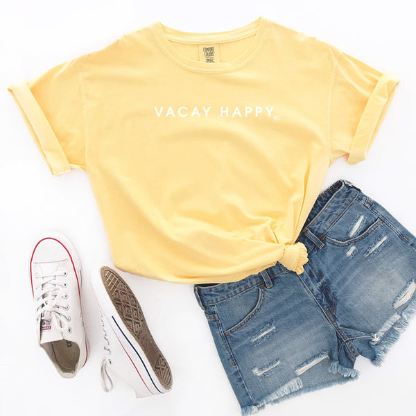 Vacay Happy Comfort Colors Short Sleeve T-Shirt
