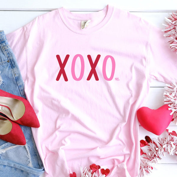 XOXO Hugs and Kisses Comfort Colors Short Sleeve Tee