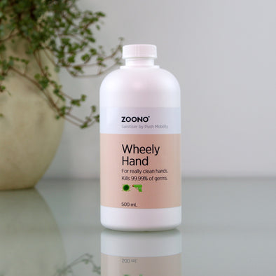 Wheely Hand Sanitiser, 500ml refill bottle with Zoono logo.