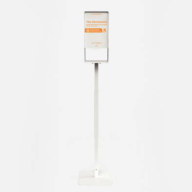 "The Germinator, a sanitiser dispenser with a white stand, and orange text that reads  ""Zoono Hand Sanitiser by Push Mobility"""