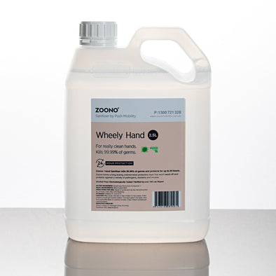 Wheely Hand Sanitiser, 5 litre bottle with Zoono logo.
