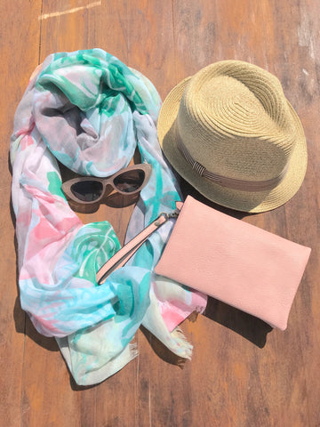summer vacation packing essentials scarf cat eye sunglasses fedora hat cross body purse