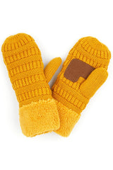 Ribbed Knit Mittens with Fleece Cuff