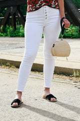 Just Black Button Down Skinny Jeans in White