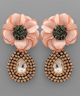 Flower & Teardrop Rhinestone Earrings
