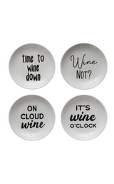 Stoneware Appetizer Plates With Wine Witticisms