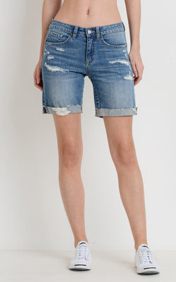 Destroyed Denim Cycling Shorts