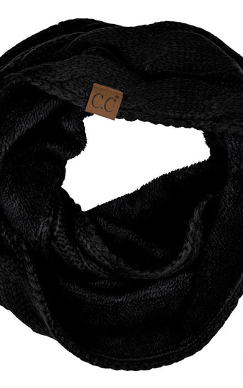 Warm Cable Knit Infinity Scarf with Fuzzy Lining