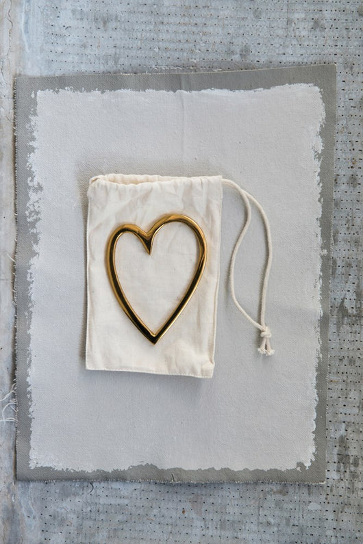 Brass Heart in Cotton Drawstring Bag