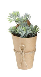 Faux Green Plants In Paper Pot