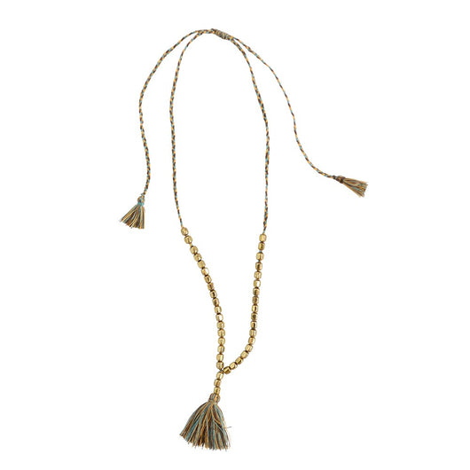 Leon Necklace with Brass Colored Beads & Cotton Tassel