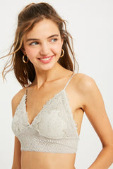 Lace Bralette with Smocking Back