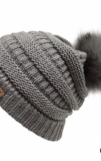Solid Ribbed Faux Fur Knit Pom Pom Hat