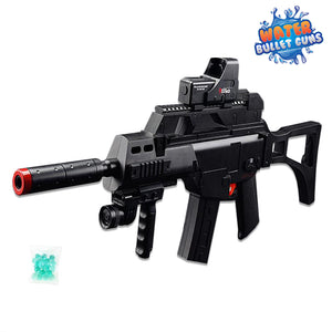 G36C Assault Rifle Water Bullet Gun, Electric Rechargeable Full Auto Rifle Black & Red Tactical Design
