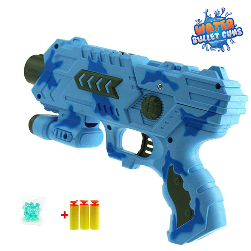 Blue Camo Water Bullet Gun, Shoots Water Bullets and Foam, Water Bullet Hand Gun