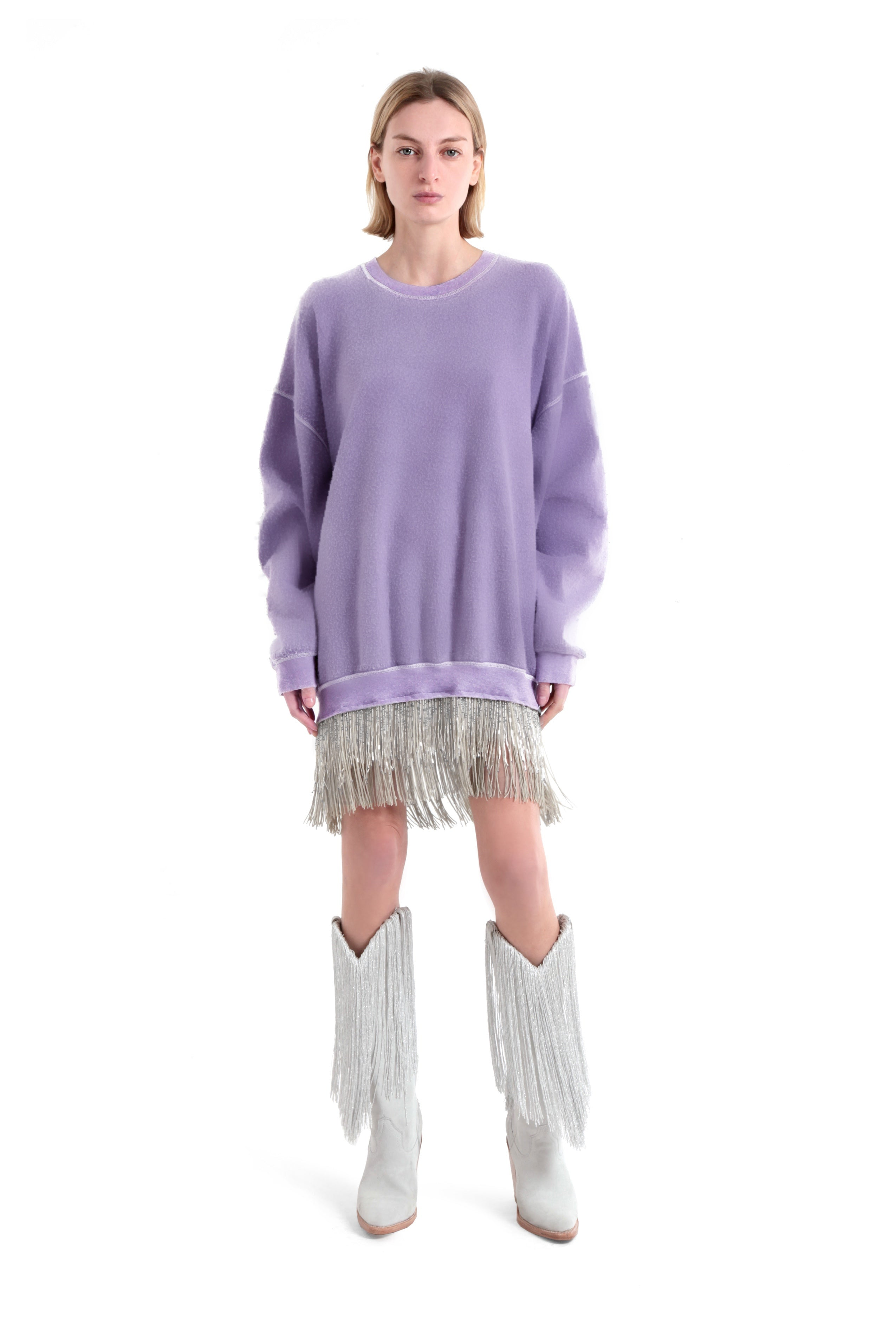 Sweatshirt Dress with Beaded Fringe