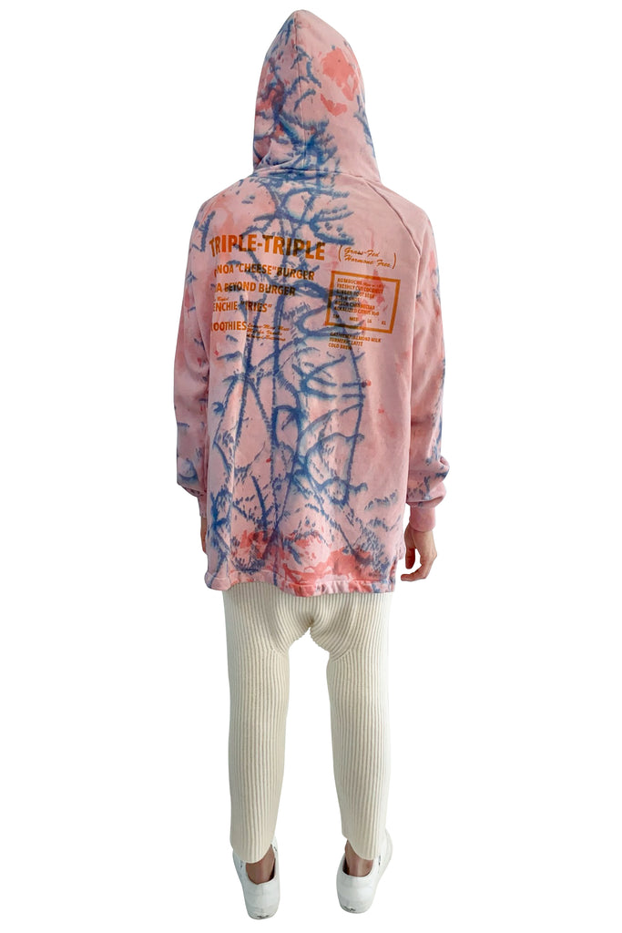 Baja Burger Bi-Level Hoodie in Coral Graffiti Tie-Dye