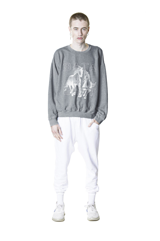 Drop Shoulder Sweatshirt with Freedom Horses