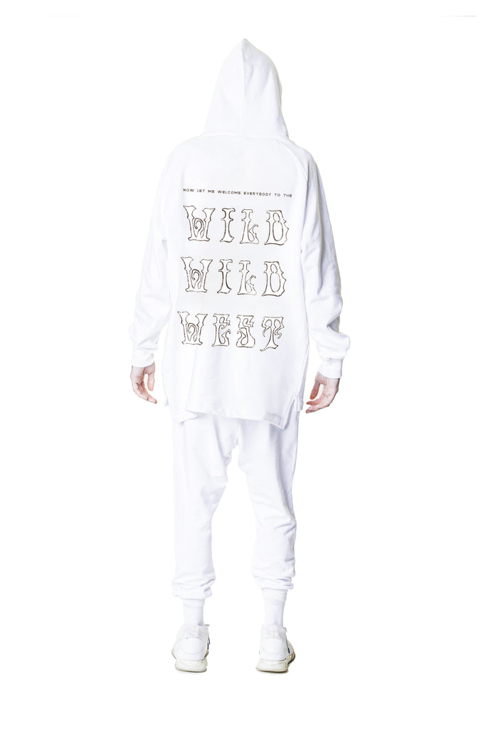 Bi-Level Hoodie with Wild Wild West in White
