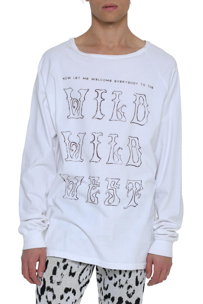 Bi-Level Long Sleeve Tee with Wild Wild West in White
