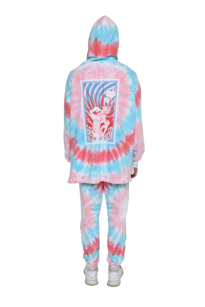 Bi-Level Hoodie with High Priestess Sunset Tie Dye