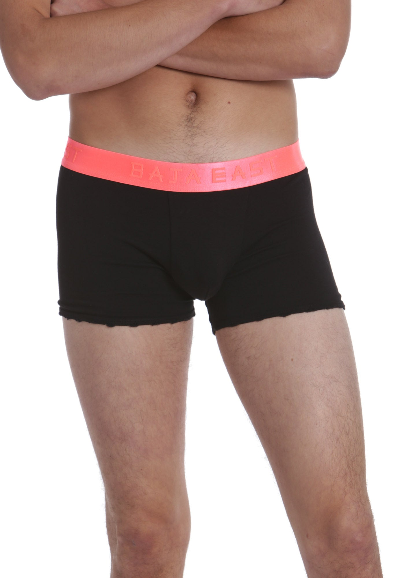 Black Boxer Brief With Coral Band, 3 Pack