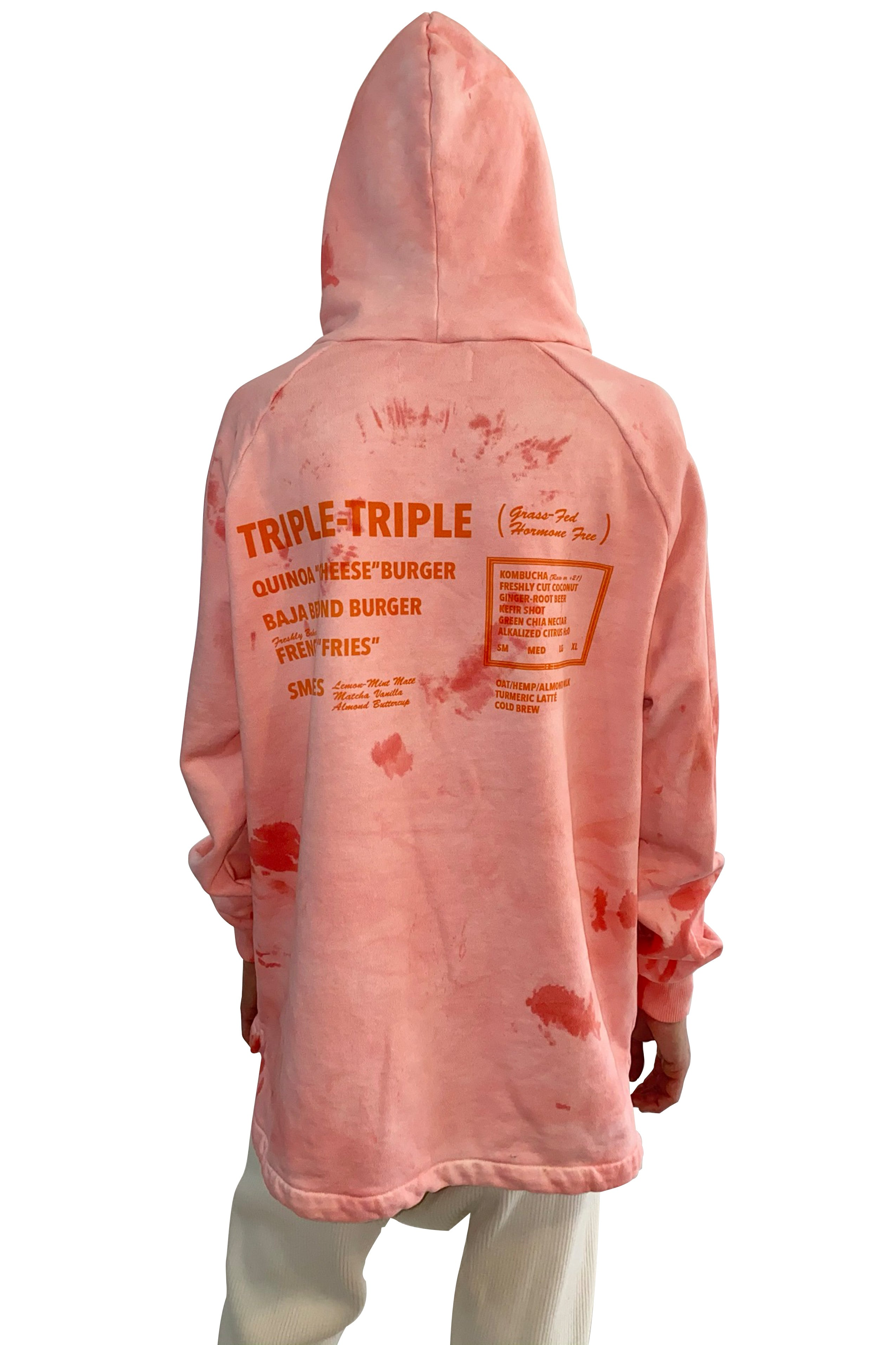 Baja Burger Bi-Level Hoodie in Scarlet Tie-Dye