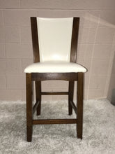 Hard Wood and White Leather Bar Stool