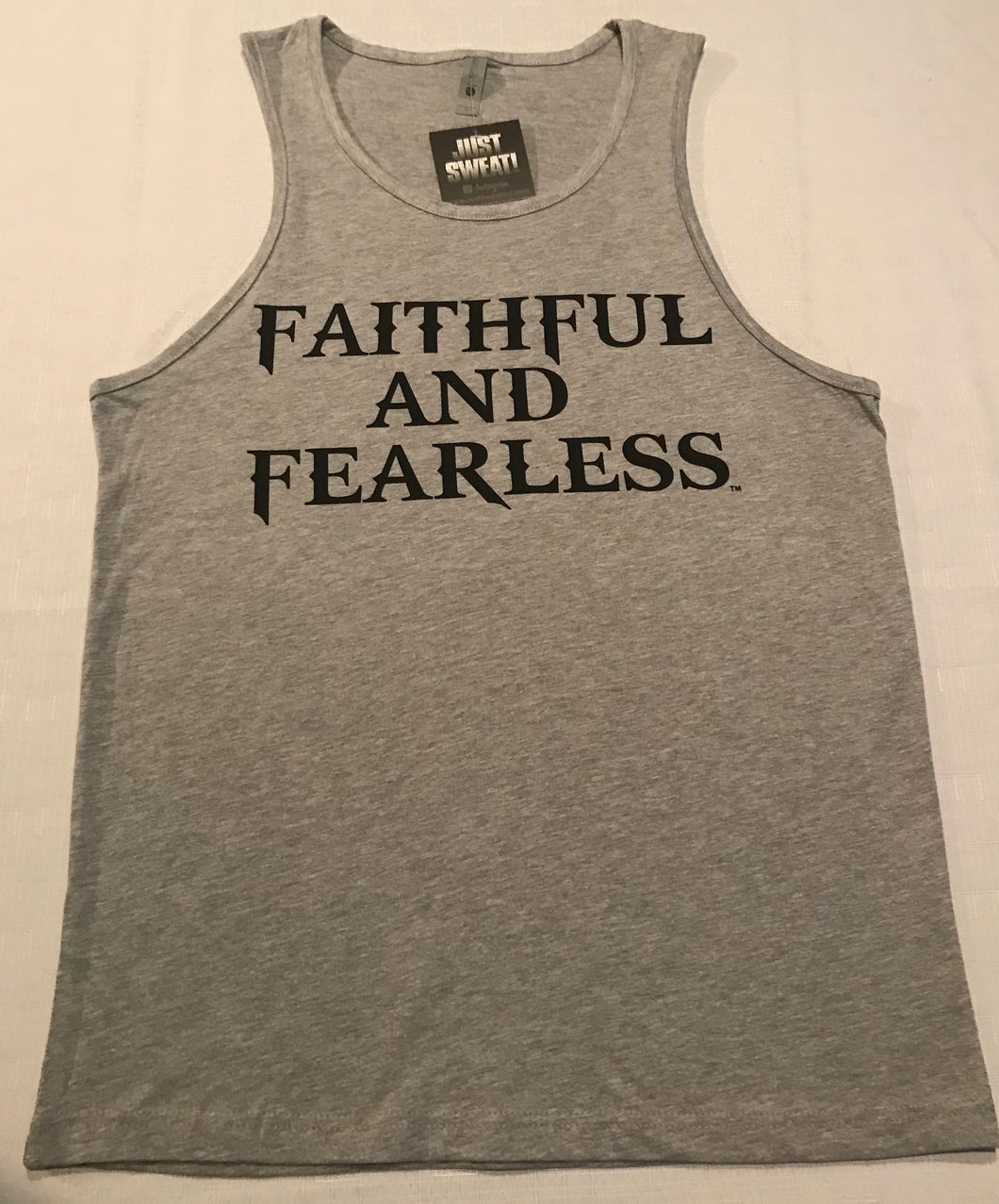 MENS FAITHFUL AND FEARLESS GREY MUSCLE TANK