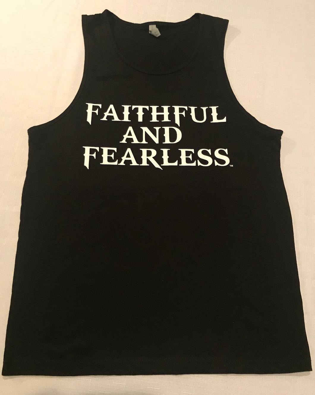 MENS FAITHFUL AND FEARLESS BLACK MUSCLE TANK