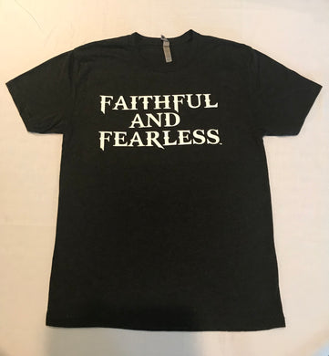 MENS FAITHFUL AND FEARLESS BLACK TRI-BLEND T-SHIRT