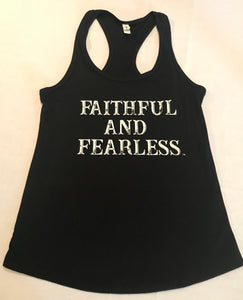 LADIES FAITHFUL AND FEARLESS BLACK RACERBACK TANK