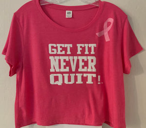 Ladies & Juniors Relaxed Crop Tee (Pink Frost) Limited Edition Breast Cancer Awareness Pink Ribbon