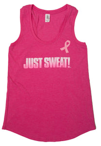 Ladie's Tri Racerback Tank (Fuchsia Frost) Limited Edition Breast Cancer Awareness Pink Ribbon
