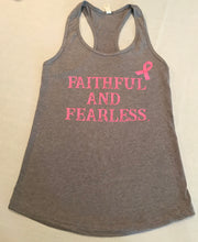 FAITHFUL AND FEARLESS LADIES LIMITED EDITION PINK RIBBON BREAST CANCER AWARENESS RACERBACK GREY TANK TOP