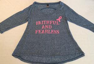FAITHFUL AND FEARLESS LADIES LIMITED EDITION PINK RIBBON BREAST CANCER AWARENESS BURN OUT TOP