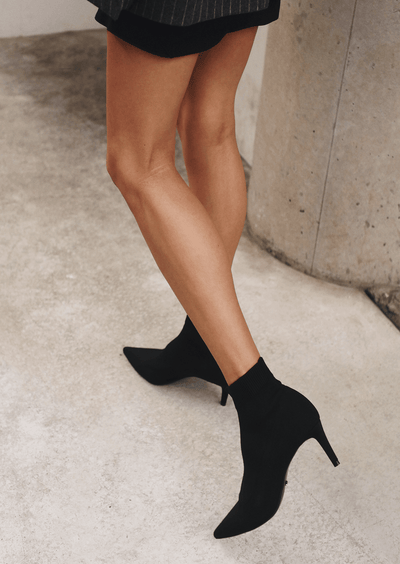 Gwen Black Sock Knit Styled