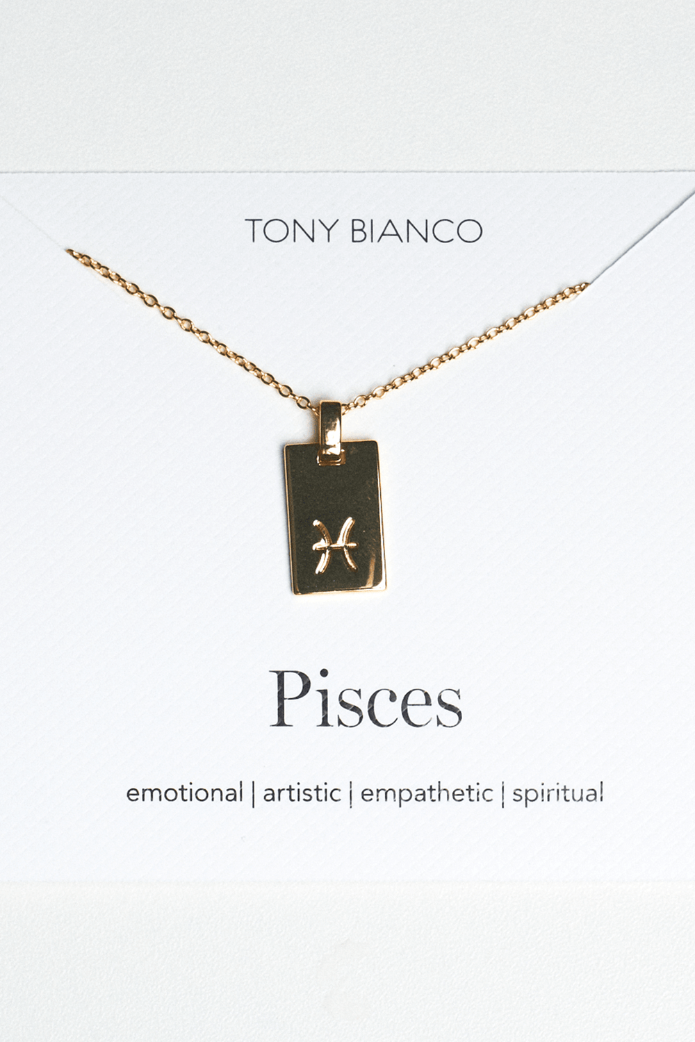 Gold Pisces Zodiac Necklace