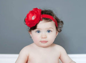 Red Peony Flower Headband