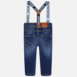 Mayoral Baby boy long denim pants with suspenders