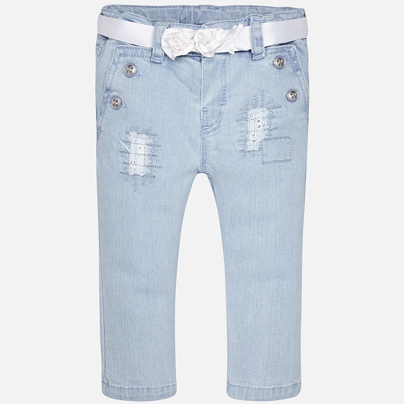Mayoral Long Denim Pants with Belt