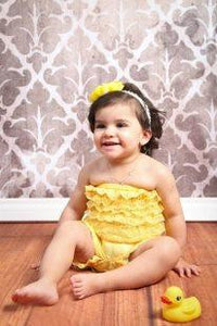 Yellow Strapless Lace Romper for Infants, Toddlers and Young Girls