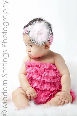Zebra Marabou Feather Headband for Infants, Toddlers and Young Girls