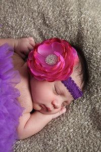 Pink and Purple Peony Flower Headband