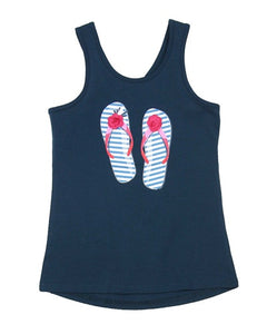 Deux Par Deux HIGH STYLE AT LOW TIDE MAJOLICA BLUE TANK TOP