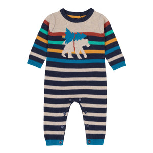 Deux Par Deux Striped Knit Romper with Bear