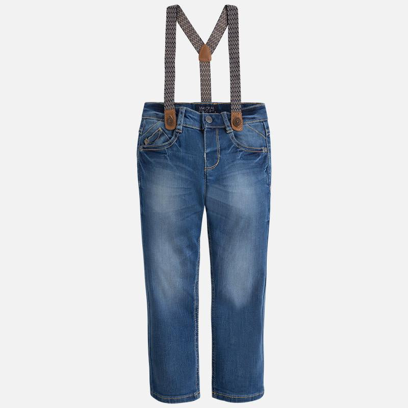 Mayoral Slim Fit Denim Jeans with suspenders