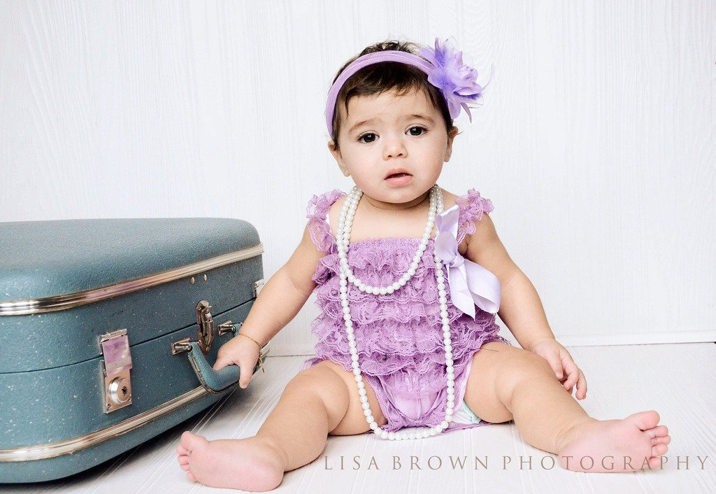 Lavender Lace Romper for Infants, Babies, Toddlers and Young Girls