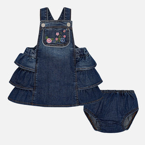 Mayoral Dungaree Embroidered Dress